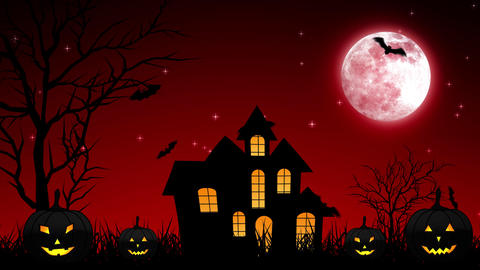 Halloween Night Castle in Red Background Animation