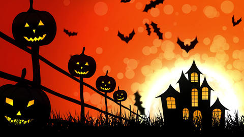 Halloween Castle Pumpkins in Orange Background Animation