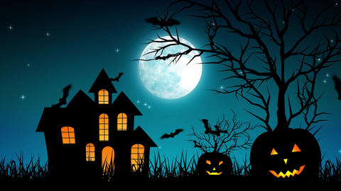 Halloween Castle Pumpkins in Cyan Background Animation