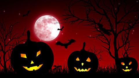 Halloween Pumpkings in Moon Light Red Animation