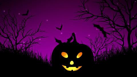 Halloween Pumpkins in Forest Magenta Animation