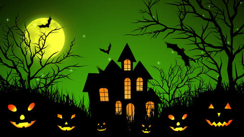 Halloween Castle in the Woods in Green Animation