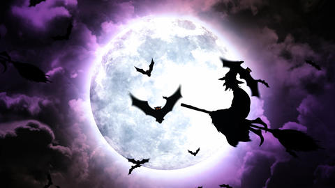 Halloween Bats and Witches in Purple Sky and Clouds Animation