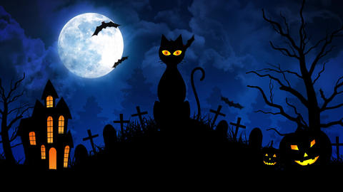 Scary Cat and Castle and Moon in Blue Background Animation