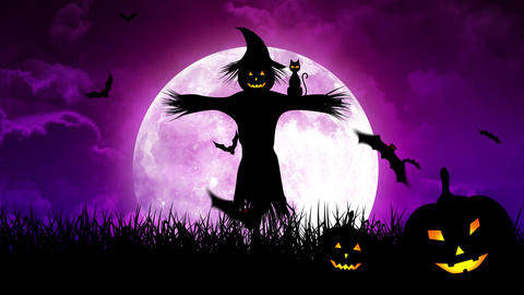 ScareCrow in the Fields and Moon in Purple Sky Animation