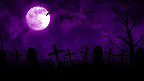 Halloween Cemetery in Purple Sky Animation