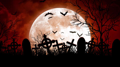 Moon Over Cemetery in Red Sky Animation