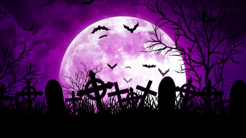 Moon Over Cemetery in Purple Sky Animation