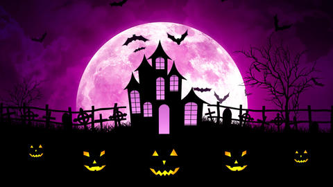Halloween Moon Over Castle in Magenta Sky Animation