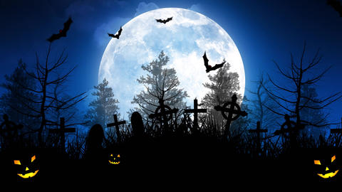 Halloween Moon Over Cemetery in Blue Sky Animation