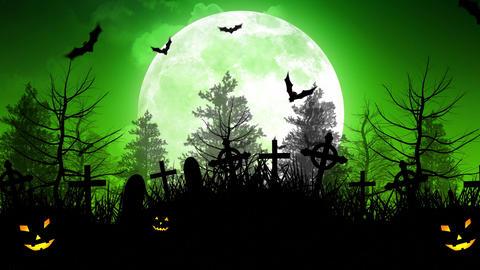 Halloween Moon Over Cemetery in Green Sky Animation