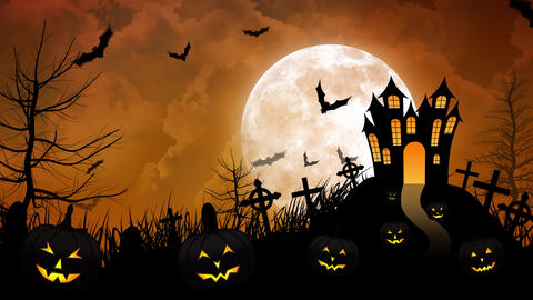 Halloween haunted Castle with Yellow background Animation