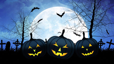 Hallloween Pumpkins with Moon in Blue Sky Animation