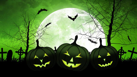 Hallloween Pumpkins with Moon in Green Sky Animación