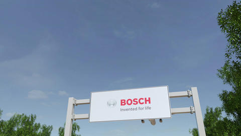 Airplane flying over advertising billboard with Robert Bosch GmbH logo Live Action