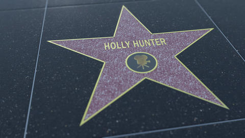 Hollywood Walk of Fame star with HOLLY HUNTER inscription. Editorial 4K clip Footage