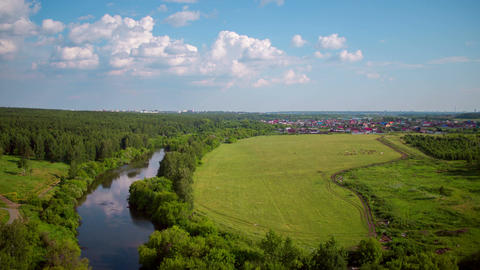 Flight over the forest, river and recreation areas Footage