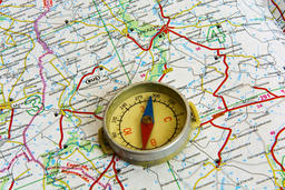 Map of roads and compass Photo