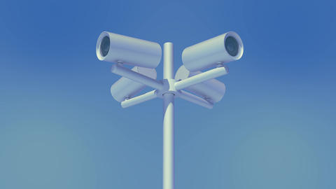 four cctv working outdoors Stock Video Footage