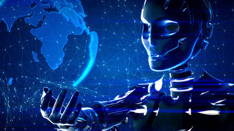 Futuristic abstract technology background with robot and…, Stock Animation