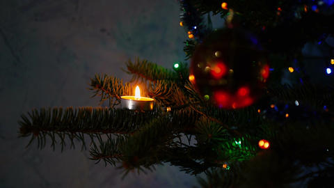 Christmas tree. ornaments with candles. holiday atmosphere. Christmas tree toys Footage