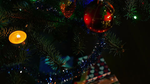 Christmas decorations for the holiday. Christmas tree. gifts under the tree Footage