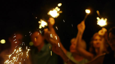 sparklers in the hands of the night Footage