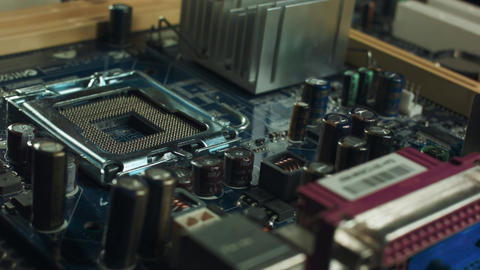 components of the motherboard sata slots and RAM, heatsink cooler Footage
