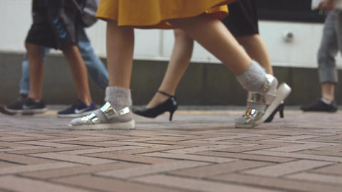 People walking on the sidewalk (Slow Motion Video) Shibuya in Summer Image
