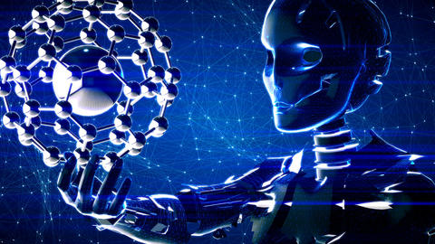 Futuristic abstract technology background with robot and molecule Animation