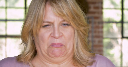 Disgusted or nauseous feeling woman on the verge of vomiting Live Action