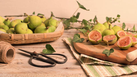 Delicious figs on kitchen coutertop Live Action