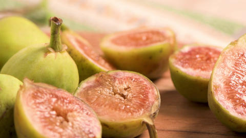 Delicious figs on kitchen coutertop Footage