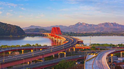 Time lapse of Banghwa bridge Seoul City,South Korea Footage
