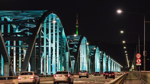 Time lapse of Seoul City skyline at Dongjak Bridge in Seoul, South Korea Live Action