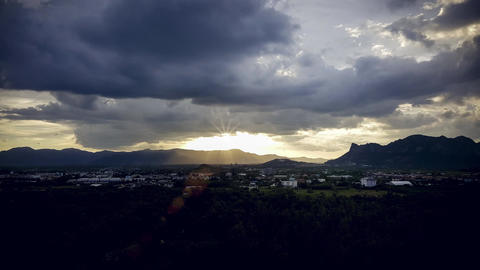 Sunset on the Valley City with beautiful cloudy sky. Golden hour evening Animación