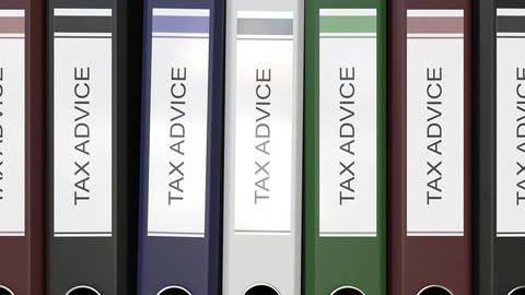 Multiple office folders with Tax advice text labels Live Action