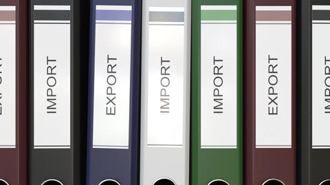 Multiple office folders with Import and Export text labels Live Action