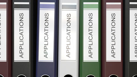 Multiple office folders with Applications text labels Live Action
