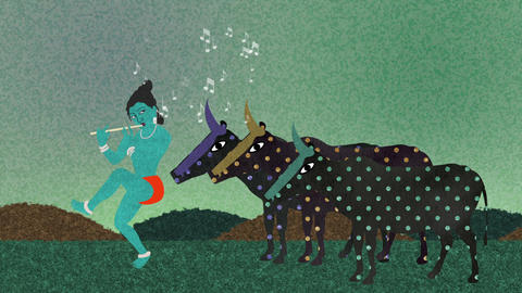 Lord Krishna Playing His Flute to Holy Cows Footage