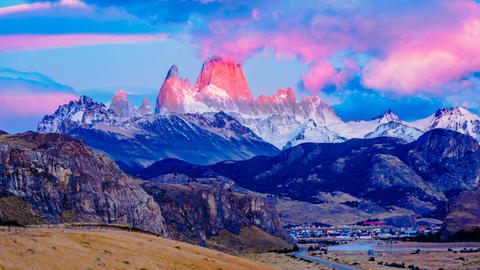 Morning viiew of Mount Fitz Roy in Southern Patagonian Ice Field Footage