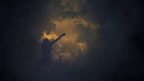 A mysterious Girl Lifting her Arms to Strange Lightning Storm Image