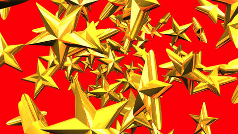 Gold Stars On Red Background CG動画