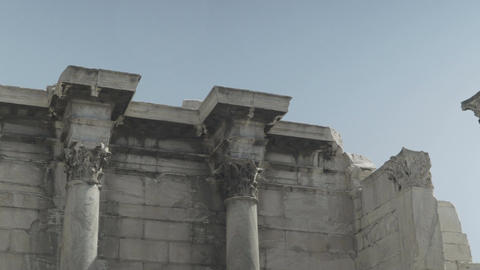 panning view of greek ancient columns Footage
