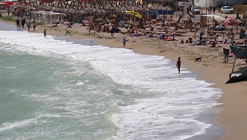 Vama Veche, Romania, August, 2017. Black Sea beach activities Footage