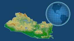 El Salvador and Globe. Bumps shaded Animation