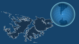 Falkland Islands and Globe. Solids Animation