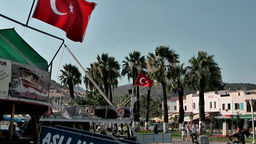 Turkey the Aegean Sea Bodrum 012 old harbor waterfront promenade Footage