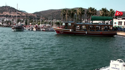 Turkey the Aegean Sea Bodrum 014 wooden boats in old harbor Footage