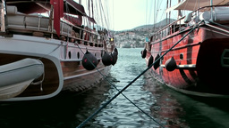 Turkey the Aegean Sea Bodrum 019 two wooden sailing boats in old harbor Footage